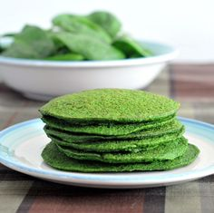 """Baby Spinach Pancakes"" - I will have to try this one for sure.I mean, I love ""green"" smoothies, so spinach pancakes with some sliced banana & low calorie maple syrup might be really yummy! Vegan Pancake Recipes, Breakfast Recipes, Vegetarian Recipes, Cooking Recipes, Healthy Recipes, Protein Breakfast, Paleo Ideas, Cooking Pork, Vegetarian Food"