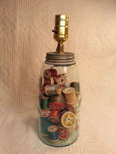 Vintage Large Ball Mason Jar Lamp & Shade with Vintage Thread Spools - Cool!