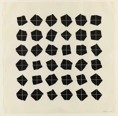 """Manfred Mohr, P-300/B, 1980  Created 1980  Artwork Type: drawing, computer-generated, ink on paper  Programming language: FORTRAN IV  Computer: CDC 7600 supercomputer, which employed a flatbed Benson plotter to """"draw"""" the image with ink on paper"""