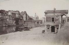 Pavillon d'octroi, port de l'Hôtel-de-Ville et l'île de la Cité avec la Conciergerie au fond (4ème arr., Paris), entre 1851 et 1854 - Charles Nègre