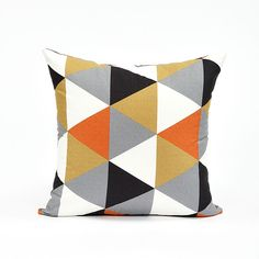 "20"" X 20"" Modern Black, Gray  Persimmon Triangle Pattern Throw Pillow Cover. $25.95, via Etsy."