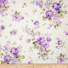 Zoey Christine Morning Dew Wisteria from @fabricdotcom Designed by Eleanor Burns for Benartex, this cotton print fabric is perfect for quilting, apparel and home decor accents. Colors include shades of lavender, green, and cream.