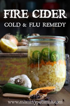 Fire Cider, Cold & Flu Remedy ~ Ready for cold and flu season? Fire cider is a delicious way to boost immune function, stimulate digestion and warm up on cold winter days. Natural Health Remedies, Natural Cures, Natural Healing, Flu Remedies, Herbal Remedies, Health Tips, Health And Wellness, Health Articles, Salud Natural
