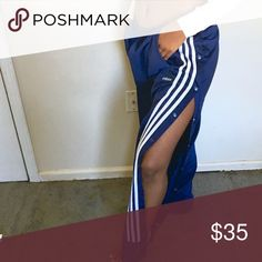 Adidas snap away track pants The very top button on the left side is missing but can easily see a new one on adidas Pants Track Pants & Joggers