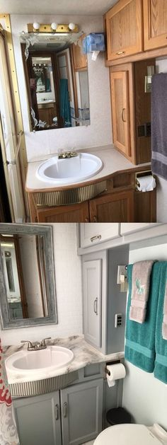 37 Best ideas camper remodel before and after rv makeover rv bathroom Rv Campers, Camper Trailers, Shasta Camper, Travel Trailers, Happy Campers, Rv Bathroom, Remodel Bathroom, Small Bathroom, Bathroom Cabinets