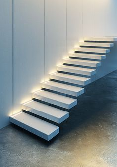 Zwevende Trap Floating Stairs Stairways 56 Ideas For 2019 Metal Stairs, Concrete Stairs, Modern Stairs, Concrete Floors, Floating Staircase, Spiral Staircase, Staircase Design, Led Stair Lights, Stair Lighting