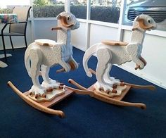 """Presuming that they don't smell bad inside or out, what's not to love about these awesome Tauntaun rocking horses?  Thanks to a couple helpful commenters on io9, we've learned that they were handmade by a skilled Star Wars-loving woodworker named Chuck Bowman aka The WoodChuck."""