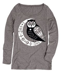 Love this Athletic Heather Moon Owl Long-Sleeve Tee by LC Trendz on #zulily! #zulilyfinds