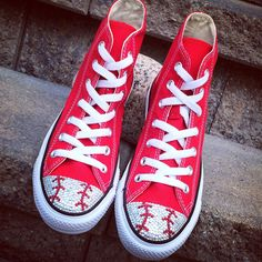 Baseball Bling in red Converse high tops!! That's how Tricked Kicks all began. Cant wait for these to be delivered to an awesome Baseball Mom. These shoes are still one of my favorites!!