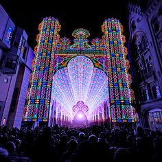 A glowing cathedral like structure — dubbed the Luminarie De Cagna, was display at the 2012 Light Festival in Ghent, Belgium