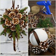 Kissing ball made with ribbons and pine cones - paper b .- Kissing Ball mit Bändern und Tannenzapfen gemacht – Papier basteln – # … Kissing Ball made with Ribbons and Pine Cones – Paper Craft – # … # Ribbons # Made - Pinecone Ornaments, Handmade Ornaments, Diy Christmas Ornaments, Christmas Projects, Holiday Crafts, Pinecone Christmas Crafts, Christmas Pine Cones, Christmas Flowers, Christmas Christmas