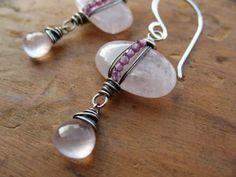 Rose Quartz & Garnet Wire Wrapped Pebble Earrings by brendamcgowan, $52.00