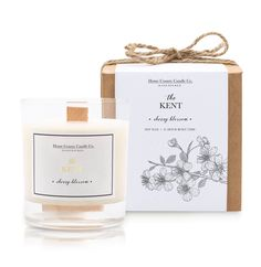The Kent - Cherry Blossom Candle Burning Candle, Secret Santa, Vegan Friendly, Soy Candles, Biodegradable Products, Cherry Blossom, Wax, Fragrance, Place Card Holders