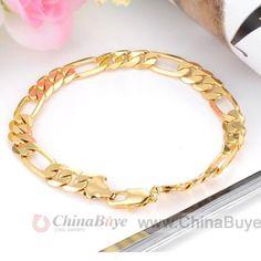 Fashion Jewelry: 18K Golden Plated Men Fashion Durable Bracelet Ban...