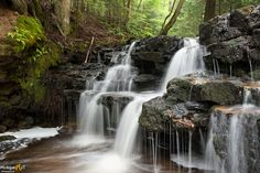 A gently flowing waterfall on the Mosquito River in Pictured Rocks National Lakeshore. Michigan Waterfalls, Pictured Rocks National Lakeshore, Waterfall Photo, Picture Rocks, State Of Michigan, Upper Peninsula, Beautiful Waterfalls, Framed Art Prints, Canvas Frame