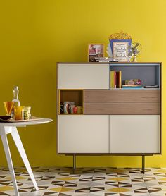 Lacquered solid wood highboard AURA S6 by TREKU | #design Angel Martí, Enrique Delamo #yellow #interior @TrekuMuebles