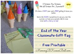 End of the Year Classmate Gift Tag Printable MommyB #school