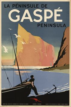 Québec - La Peninsule de Gaspé Peninsula #vintage #travel #poster #Canada