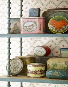 Antique tins hold treasures such as old letters and Hadley's boyhood rock collection.
