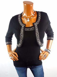 ZOE D Womens Top L NEW 2pc Set Black Cardigan & Sleeveless Shirt Stretch Beads  #ZOED #Blouse #Casual