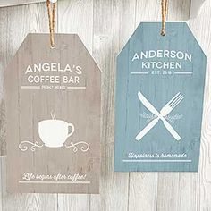Farmhouse Kitchen Large Personalized Wooden Wall Tag