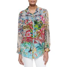 Johnny Was Collection Milla Long-Sleeve Floral-Print Blouse (206 AUD) ❤ liked on Polyvore featuring tops, blouses, multi, button front blouse, button front tops, petite blouses, floral print tops and petite long sleeve blouses