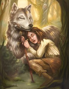 Nymeria is the direwolf bonded to Arya Stark. She has grey fur and dark golden eyes. When Joffrey attacked Arya, Nymeria bit him. Knowing that Queen Cersei would have Nymeria's head, Arya and Jory Cassel chase Nymeria into the woods to save her life. Arya has warging abilities with Nymeria, and through a dream witnessed as Nymeria found and removed Catelyn Stark's body from a river following the Red Wedding. Nymeria has turned into a huge she-wolf who is leader of a fierce pack of wolves