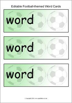 Editable football-themed word cards template (SB10913) - SparkleBox
