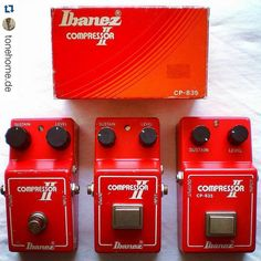 repost @tonehome.de:  Never underestimate a good compressor. Three generations of Ibanez' superb CP-835 Compressor II (left to right: v1 from mid 1979 v3 from late 1979 and v4 from 1980). Especially v3 (narrow box w/square switch) is incredibly rare I've only seen three in 15 years of collecting. #ibanez #ibanezaddict #compressor #cp835 #effectsdatabase #gearporn #tonehome #lucyguitar #pedalboardmadness #pedalcollector #pedalporn #pedals #vintagegear #vintagepedals #vintageibanez
