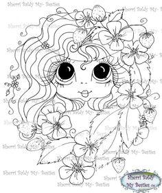 SOFORT-DOWNLOAD digitale Digi Briefmarken großes Auge großer Kopf Puppen Digi My - Making Friends Gesichter Garden Girl von Sherri Baldy