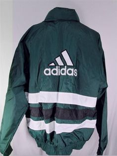 Mens Adidas Windbreaker Rain Jacket Green Nylon Shell Stowaway Hood Size XL #Adidas #Windbreaker