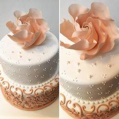 Torta de 15 años #torta #cake #pastel #quinceaños #quinceañera  #libertinacandybar #chocolate #ganache #dulcedeleche #tortaalta #pasteleria #pasteleriacreativa #rosa #rosamoderna #arabescos #delicada #bella #ganache #amor #love #pasion #yummy #rico #quieroeso #delicioso