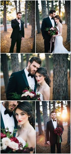 This is a beautiful fall wedding theme here! Love the dark reds and sunset photos.