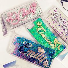 Tailand Exclusive Customize Name liquid glitter soft case for iphone 5 5s SE 6 6s plus Samsung Galaxy s6 s7 edge note 5