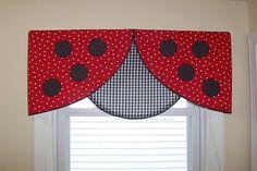 Kids Valances - Curtains, Etc./ The Creative Valance Ladybug Nursery, Ladybug Room, Ladybug House, Girl Room, Girls Bedroom, Bedrooms, Ladybug Crafts, Ladybug Decor, Window Coverings