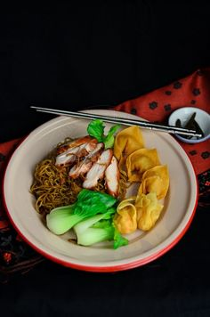Wonton  and noodles served with Chinese roast chicken