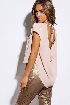 #1015store.com #fashion #style blush beige sweater knit chiffon drape back high low top-$10.00