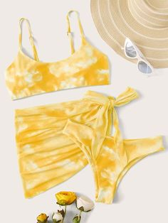 Tie Dye Bikini Swimsuit With Tie Side Beach Skirt Summer Bathing Suits, Cute Bathing Suits, Bathing Suit Skirt, Trendy Bikinis, Cute Bikinis, Tie Dye Bikini, Bikini Swimsuit, Swimsuit With Skirt, Clueless Outfits