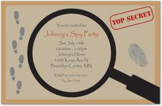 spy themed invitations - Google Search
