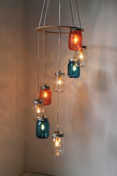 Red White Blue Mason Jar Lighting Chandelier by BootsNGus on Etsy, $210.00