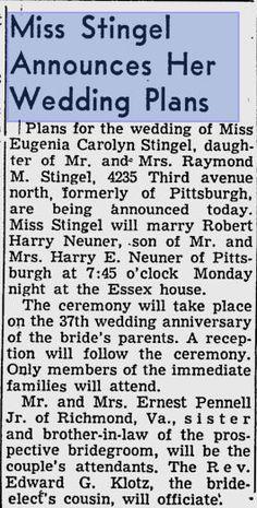 Stingel-Neuner (my Grandparent's) wedding announcment