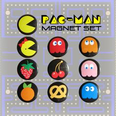 PacMan Mini Magnets Set of 10 by Buttonhead on Etsy, $6.50