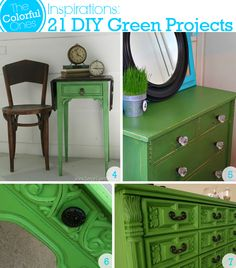 DIY Green Projects - Folding End Table, Green Painted Dresser, Upcycled Side Table, Green Dresser Redo