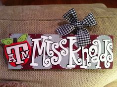 GEAUX GIRL DESIGNS Teacher Sign. 4x12 Personalized Texas A Teacher Name Sign Hand Painted Teacher Gift by geauxgirldesigns, $28.00