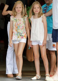 Infanta Leonor of Spain, Princess of Asturias with her little sister Infanta Sofia of Spain, August 2015