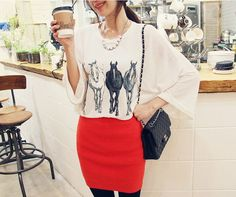 women t shirt girl blouse batwing sleeve horse printed fashion