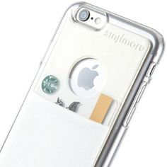 Sinjimoru iPhone 6 Wallet Case / Card Case / Case with Card Holder in Transparent Clear Hard Case, Storing 10 Credit Cards in Max. Sinji Pouch Case for iPhone 6. (White)
