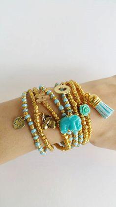 Friendship Bracelets - Boho Chic - Friendship Bracelets - Golden Ligh blue - Stretch Bracelets - blue elephant - tassel bracelet - heart Layering seedbead Friendship Bracelets - Boho Chic Summer Bracelets, you are buying 8 bracelets in this listing. Each bracelet is streachable and 7.50