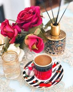 Coffee Time, Chocolate Fondue, Table Decorations, Gd Mrng, Desserts, Food, Night, Elegant, Beautiful Flowers