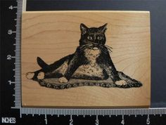 Tuxedo Cat on Rug Very RARE Rubber Stamp by Stamp Magic | eBay